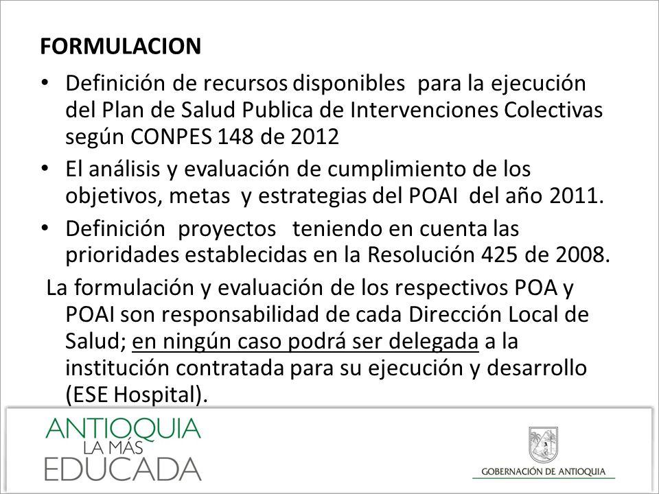 FORMULACION Definición de recursos disponibles para la ejecución del Plan de Salud Publica de Intervenciones Colectivas según CONPES 148 de 2012.