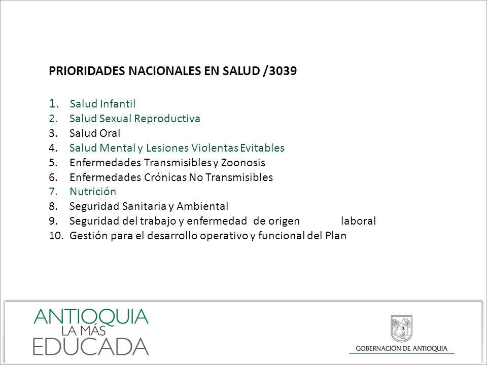 PRIORIDADES NACIONALES EN SALUD /3039 Salud Infantil