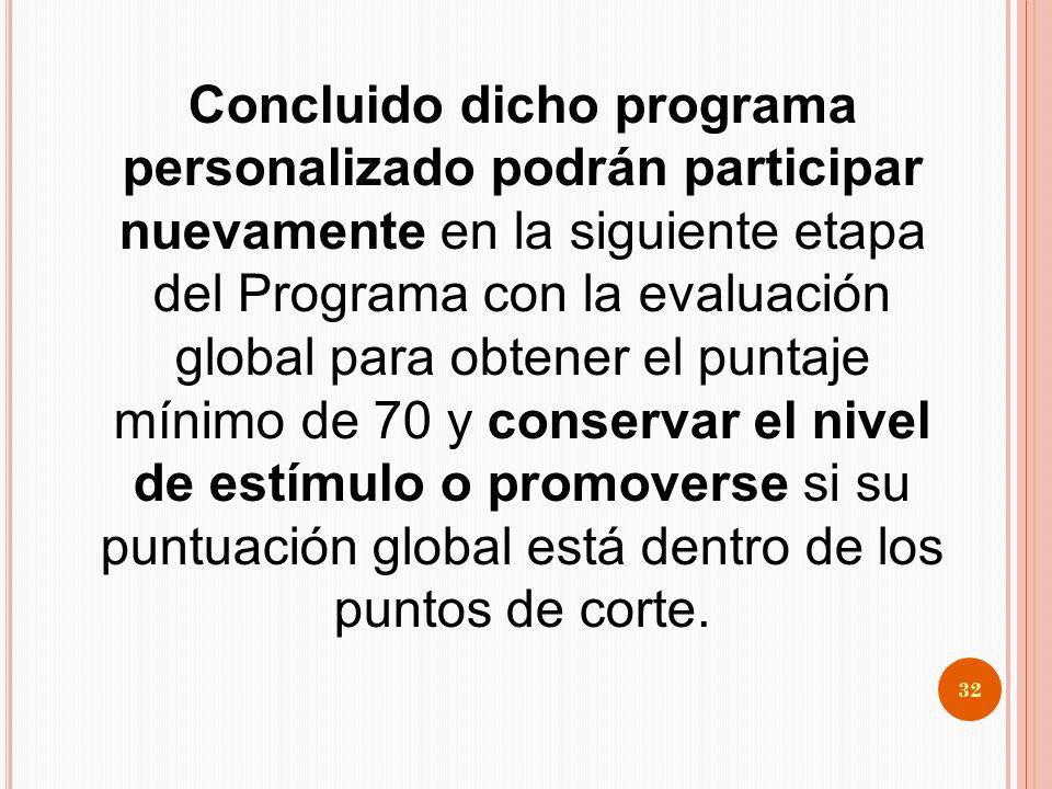 Concluido dicho programa personalizado podrán participar nuevamente en la siguiente etapa del Programa con la evaluación global para obtener el puntaje mínimo de 70 y conservar el nivel de estímulo o promoverse si su puntuación global está dentro de los puntos de corte.