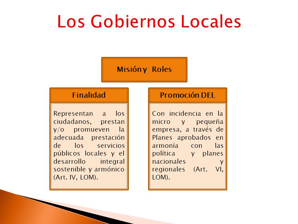 Los Gobiernos Locales Misión y Roles Finalidad Promoción DEL
