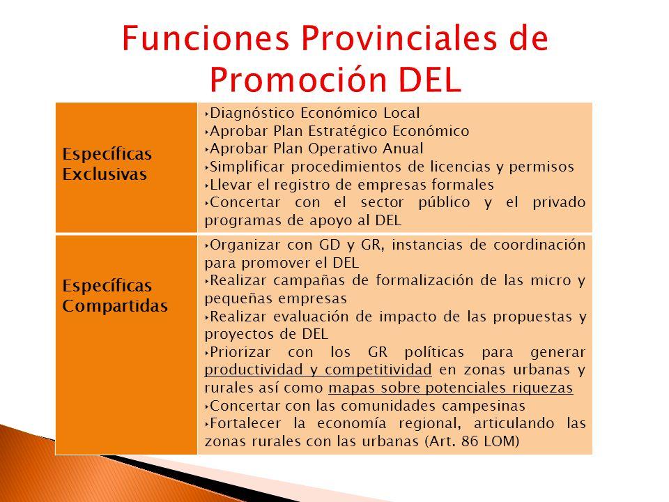 Funciones Provinciales de Promoción DEL