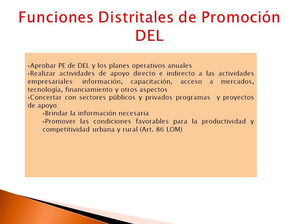 Funciones Distritales de Promoción DEL