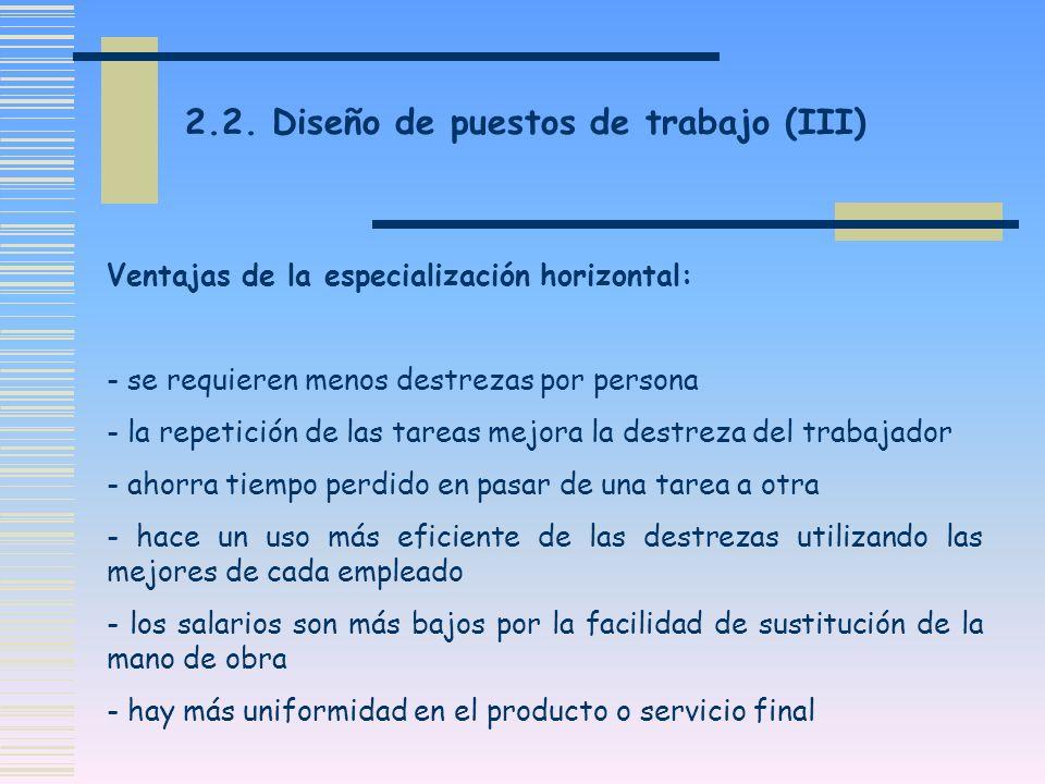 2.2. Diseño de puestos de trabajo (III)