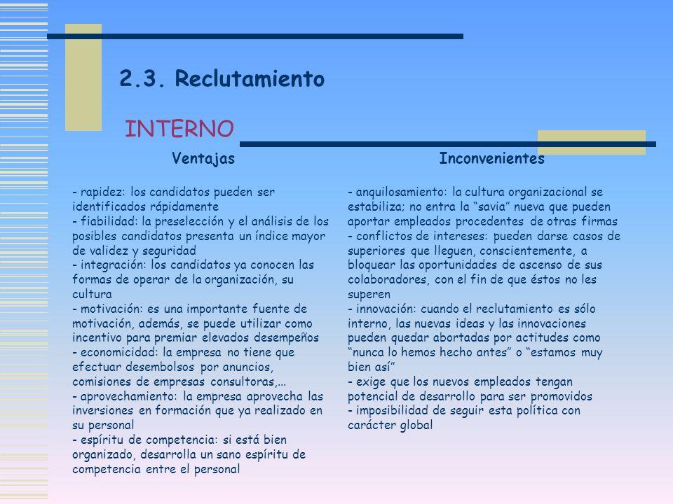 2.3. Reclutamiento INTERNO Ventajas Inconvenientes