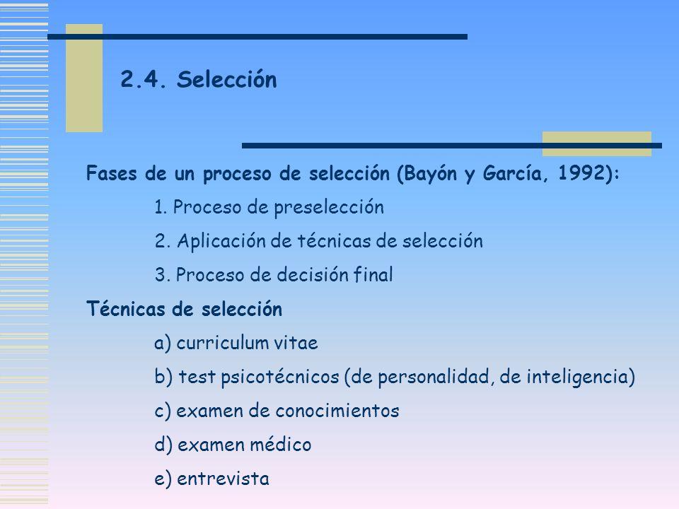 2.4. Selección Fases de un proceso de selección (Bayón y García, 1992): 1. Proceso de preselección.