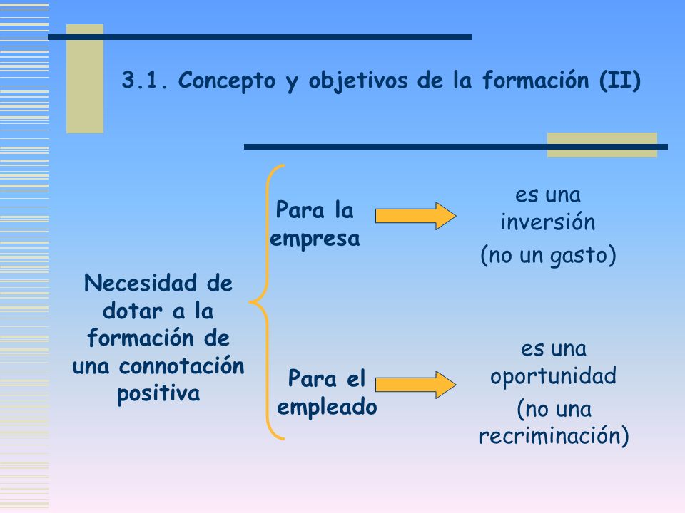 Necesidad de dotar a la formación de una connotación positiva