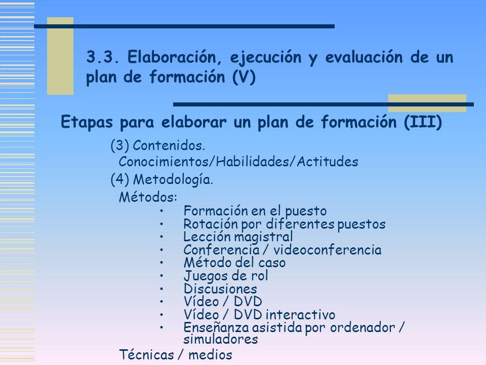 Etapas para elaborar un plan de formación (III)