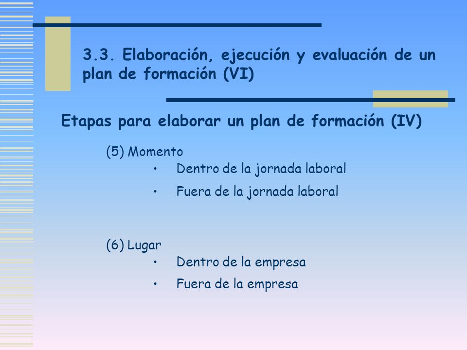 Etapas para elaborar un plan de formación (IV)