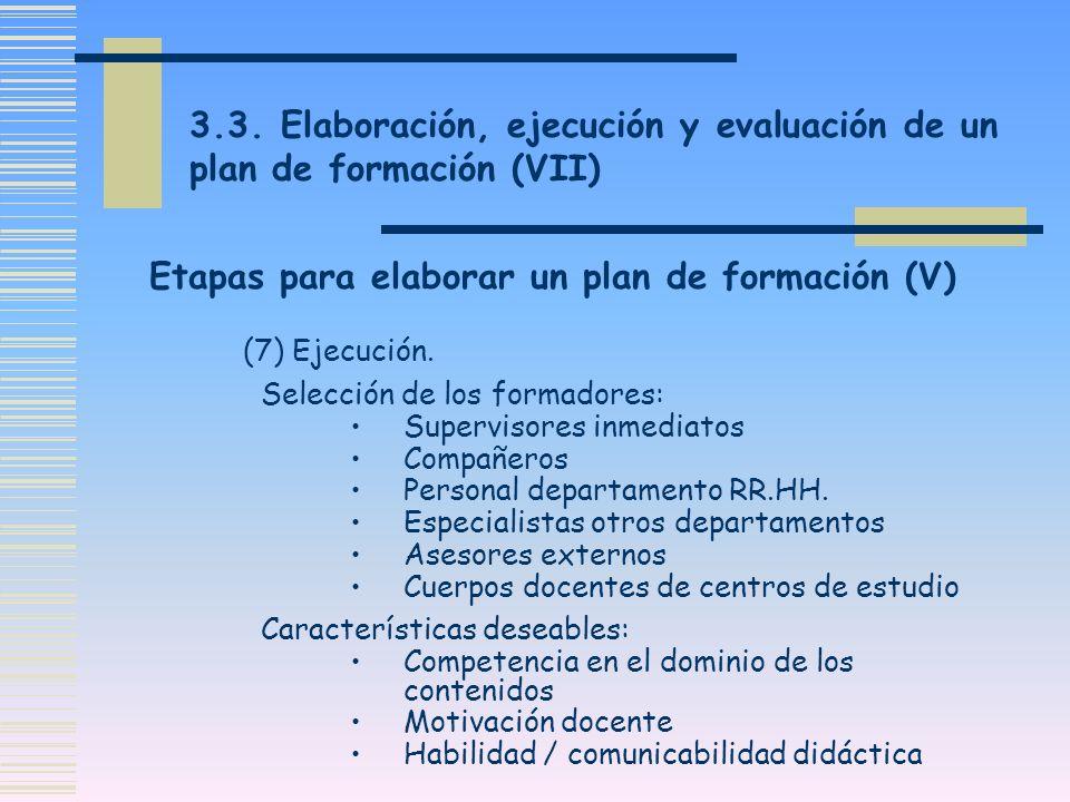 Etapas para elaborar un plan de formación (V)