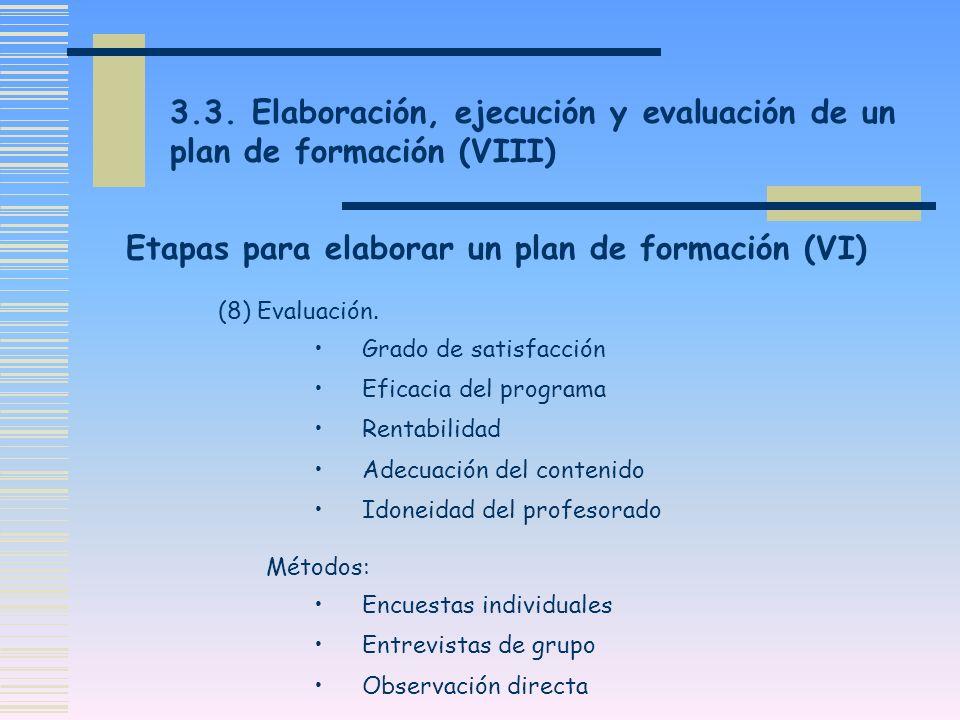 Etapas para elaborar un plan de formación (VI)