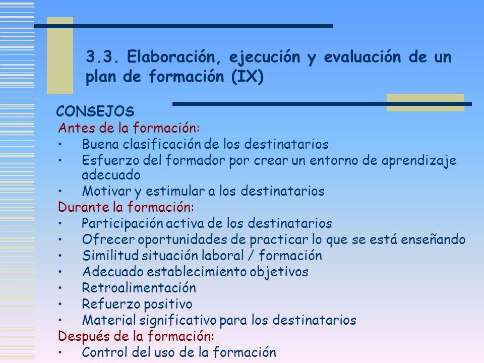3.3. Elaboración, ejecución y evaluación de un plan de formación (IX)