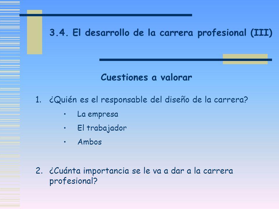 3.4. El desarrollo de la carrera profesional (III)