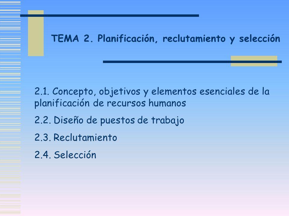 TEMA 2. Planificación, reclutamiento y selección