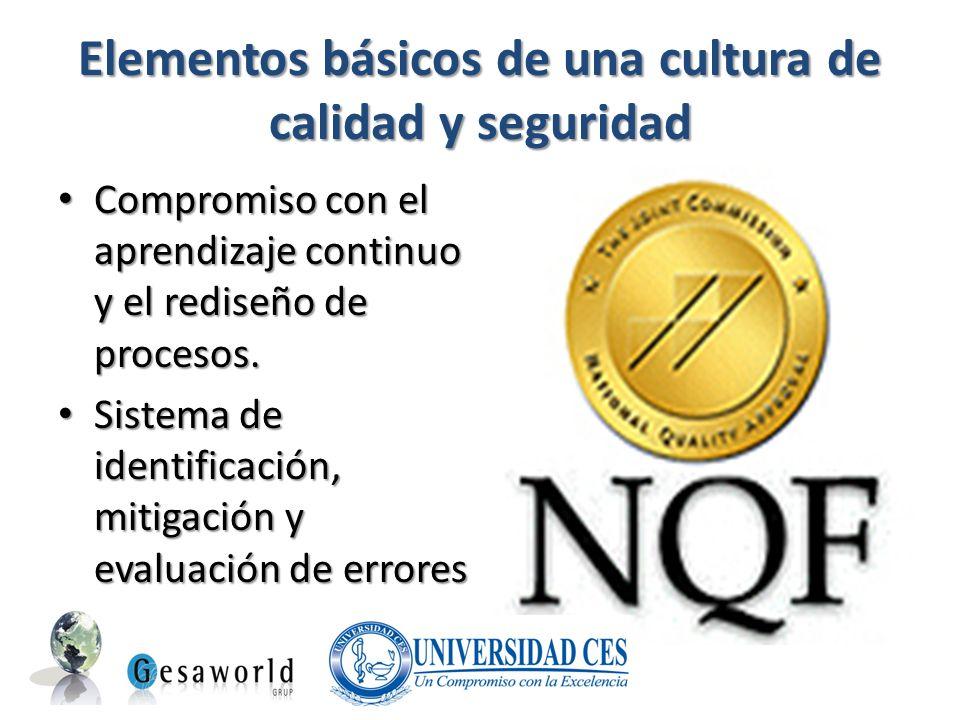 Elementos básicos de una cultura de calidad y seguridad