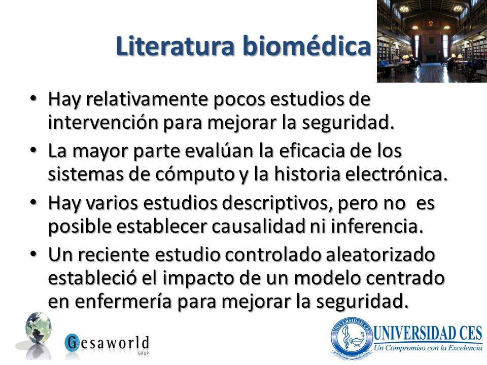 Literatura biomédica Hay relativamente pocos estudios de intervención para mejorar la seguridad.