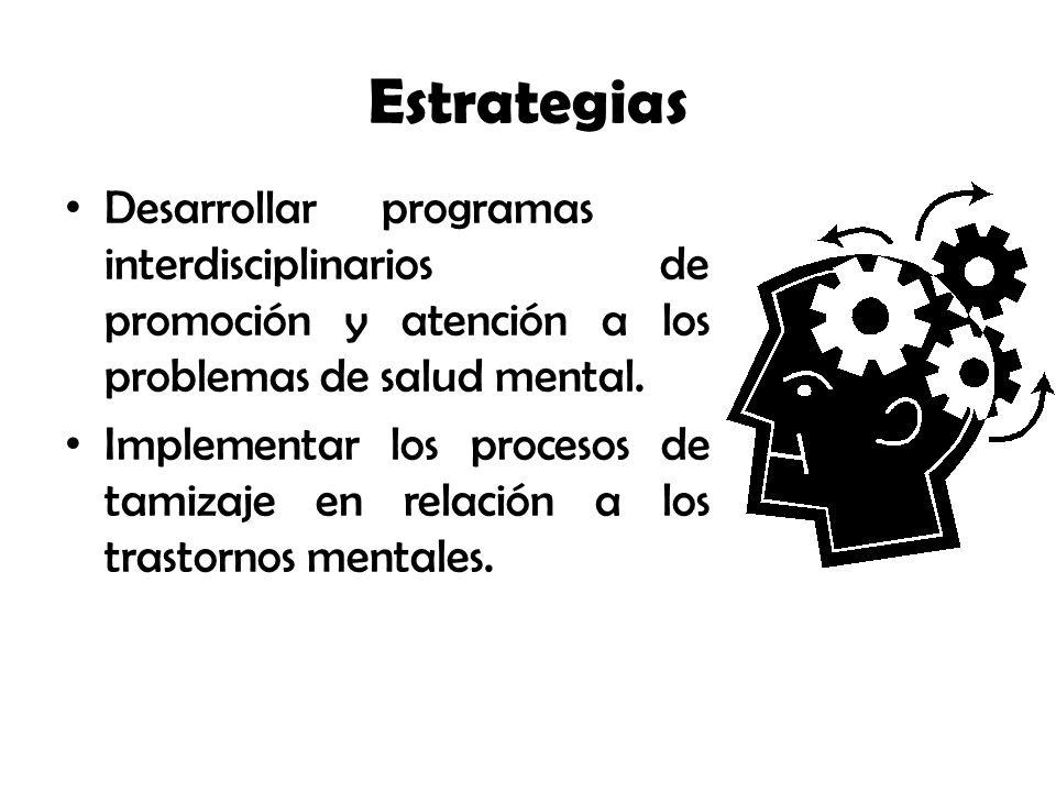 Estrategias Desarrollar programas interdisciplinarios de promoción y atención a los problemas de salud mental.