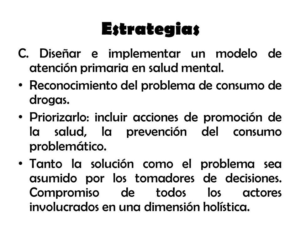 Estrategias C. Diseñar e implementar un modelo de atención primaria en salud mental. Reconocimiento del problema de consumo de drogas.