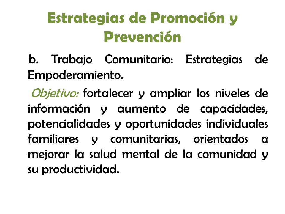 Estrategias de Promoción y Prevención