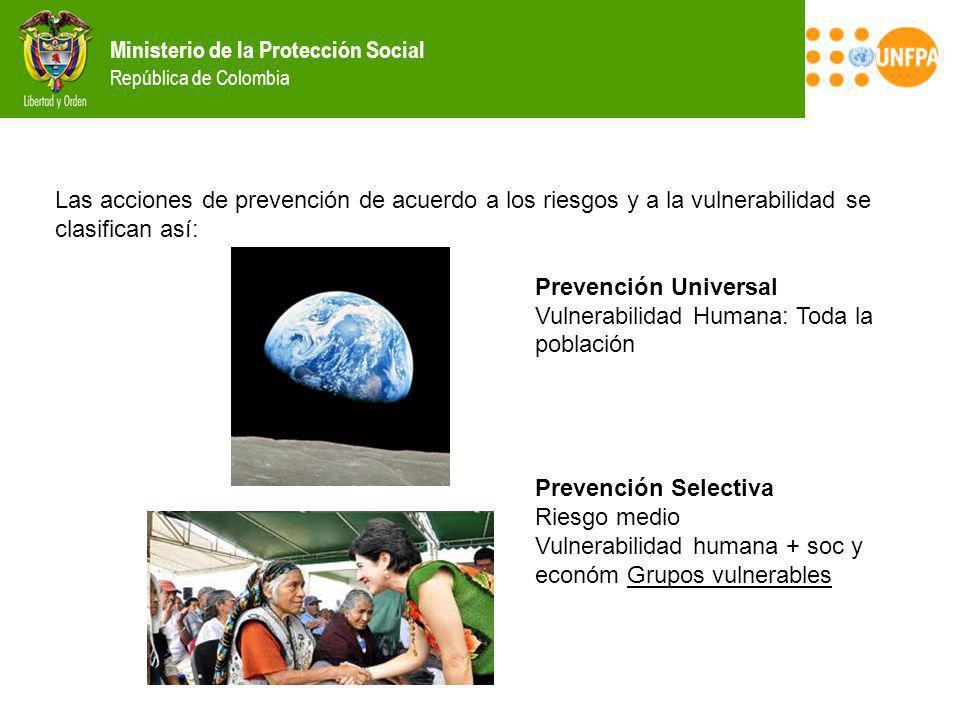 Las acciones de prevención de acuerdo a los riesgos y a la vulnerabilidad se clasifican así: