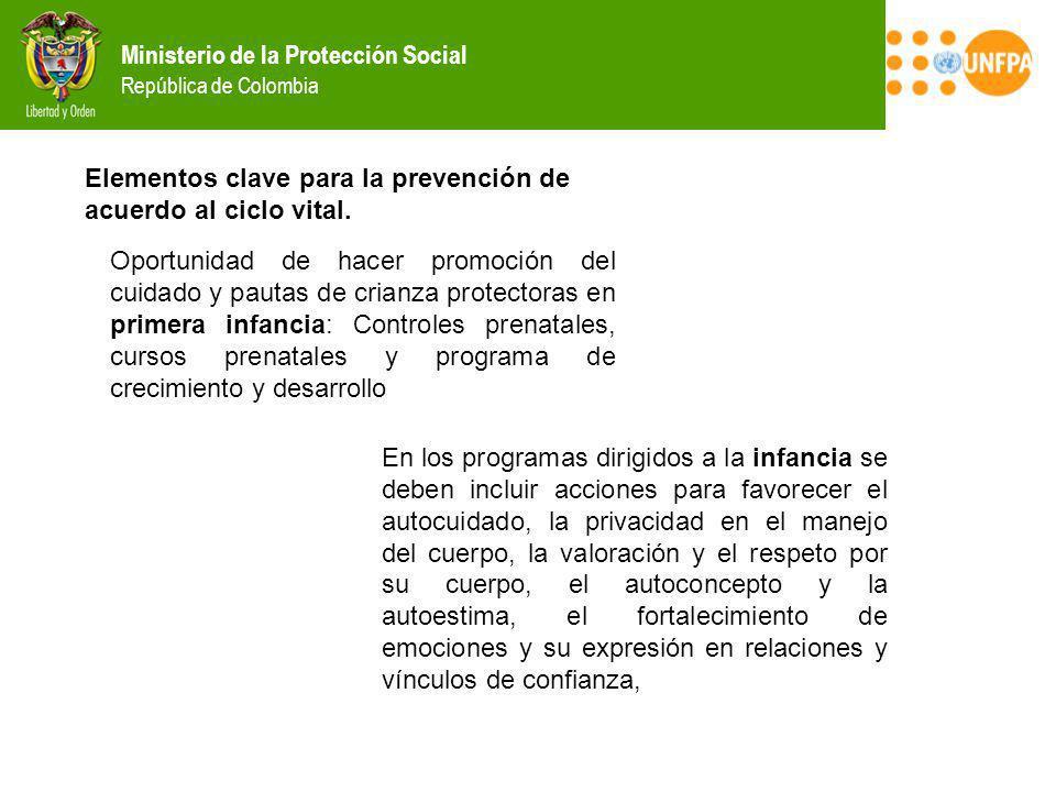 Elementos clave para la prevención de acuerdo al ciclo vital.