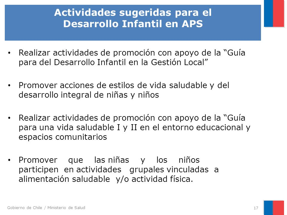 Actividades sugeridas para el Desarrollo Infantil en APS