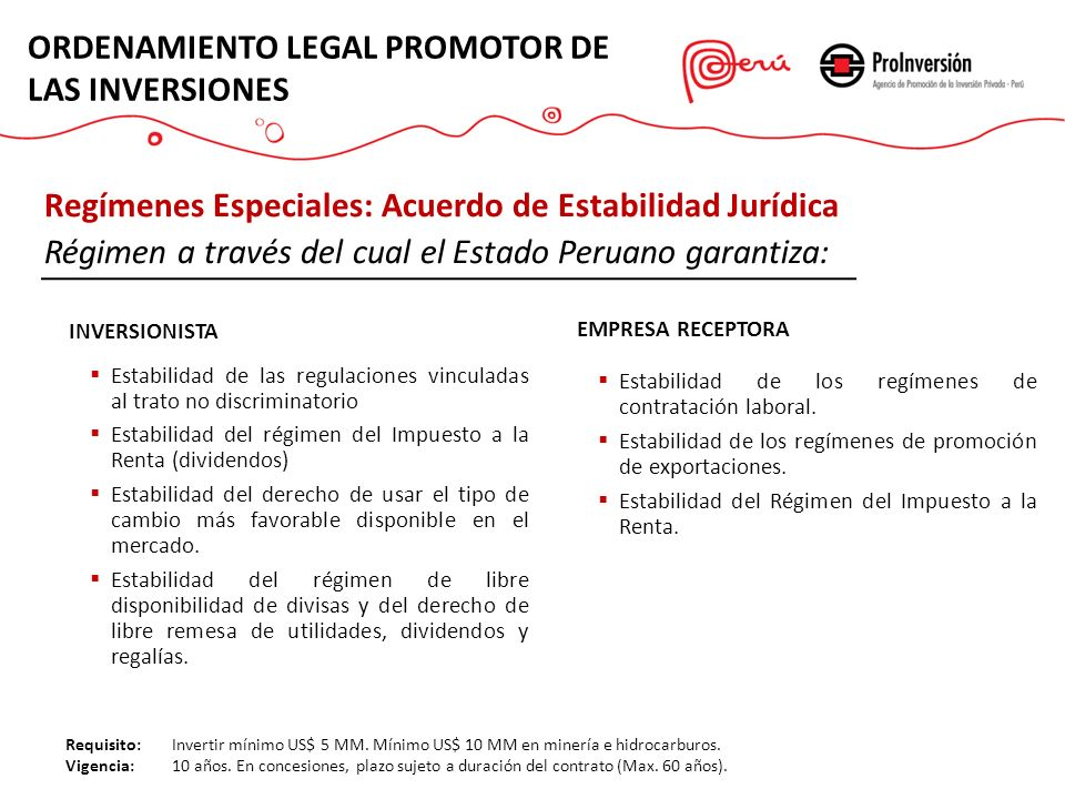 ORDENAMIENTO LEGAL PROMOTOR DE LAS INVERSIONES