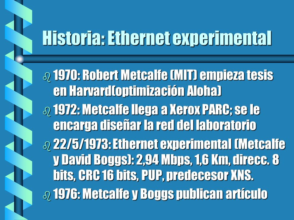 Historia: Ethernet experimental