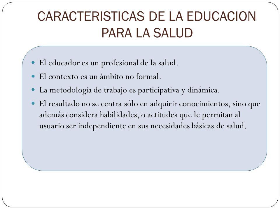 CARACTERISTICAS DE LA EDUCACION PARA LA SALUD