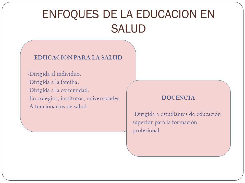 ENFOQUES DE LA EDUCACION EN SALUD