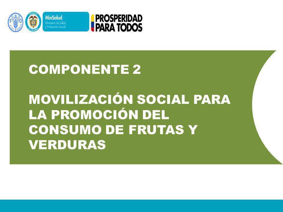 Componente 2 Movilización social para la promoción del consumo de frutas y verduras