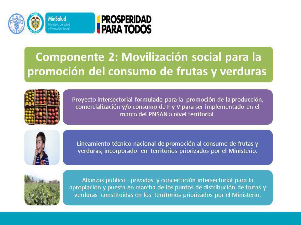 Componente 2: Movilización social para la promoción del consumo de frutas y verduras