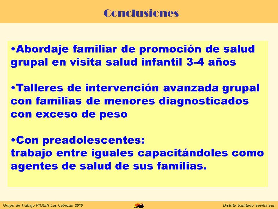 Conclusiones Abordaje familiar de promoción de salud grupal en visita salud infantil 3-4 años.