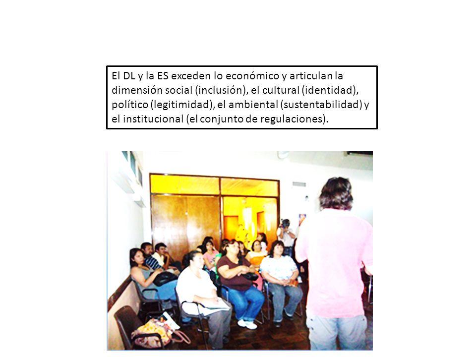 El DL y la ES exceden lo económico y articulan la dimensión social (inclusión), el cultural (identidad), político (legitimidad), el ambiental (sustentabilidad) y el institucional (el conjunto de regulaciones).