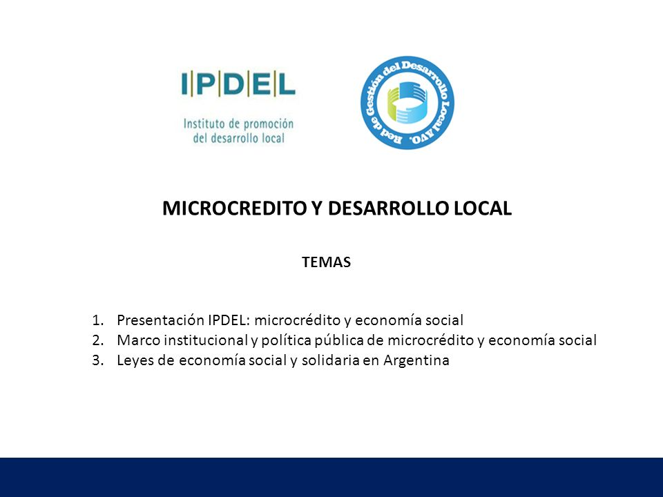 MICROCREDITO Y DESARROLLO LOCAL