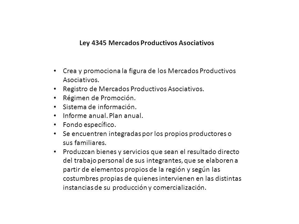 Ley 4345 Mercados Productivos Asociativos