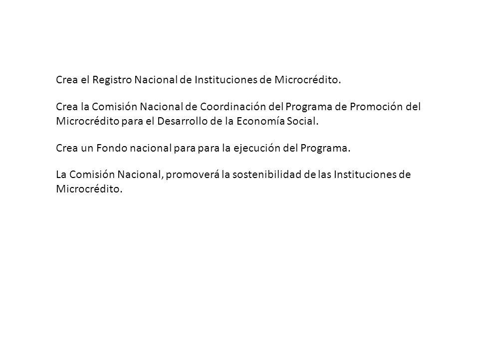 Crea el Registro Nacional de Instituciones de Microcrédito.