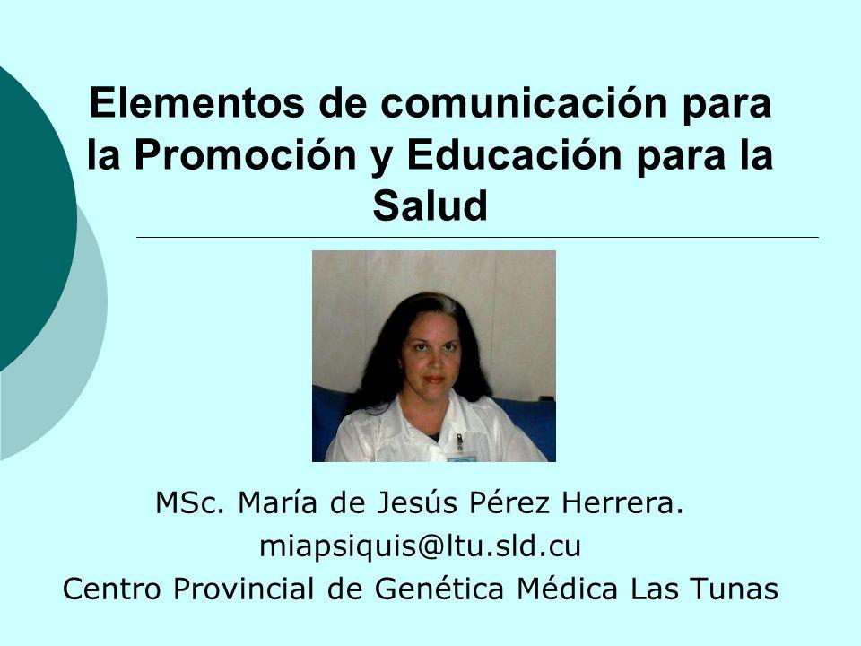 Elementos de comunicación para la Promoción y Educación para la Salud