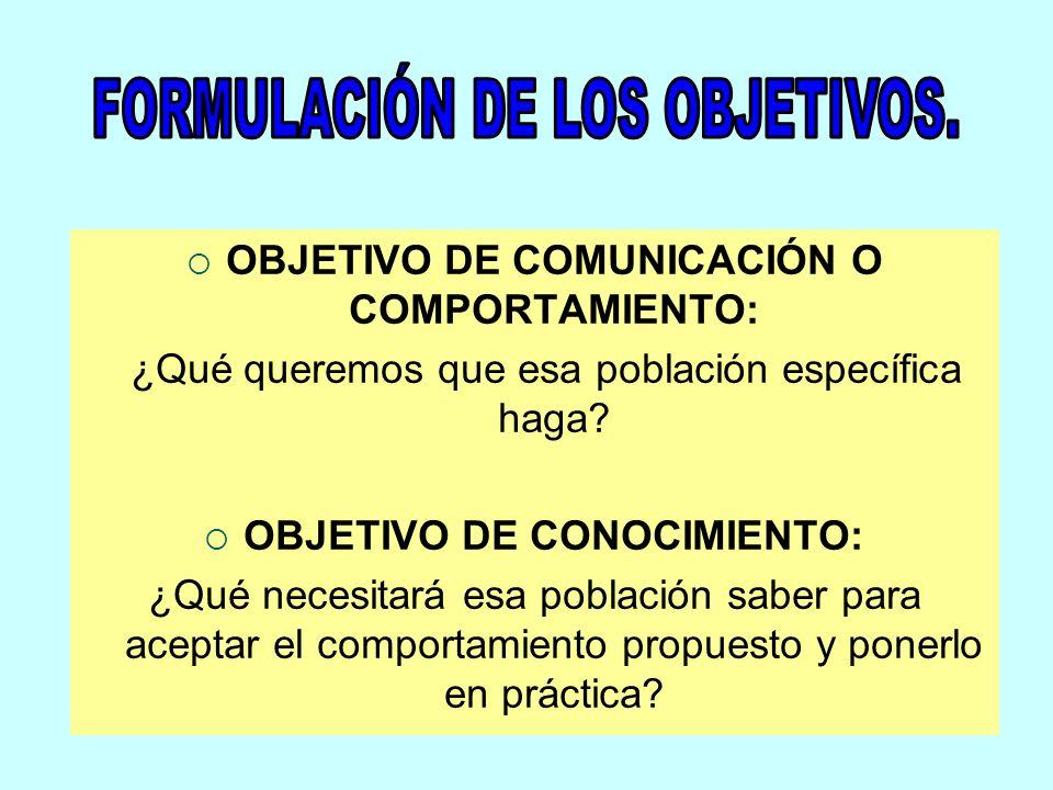 OBJETIVO DE COMUNICACIÓN O COMPORTAMIENTO: OBJETIVO DE CONOCIMIENTO: