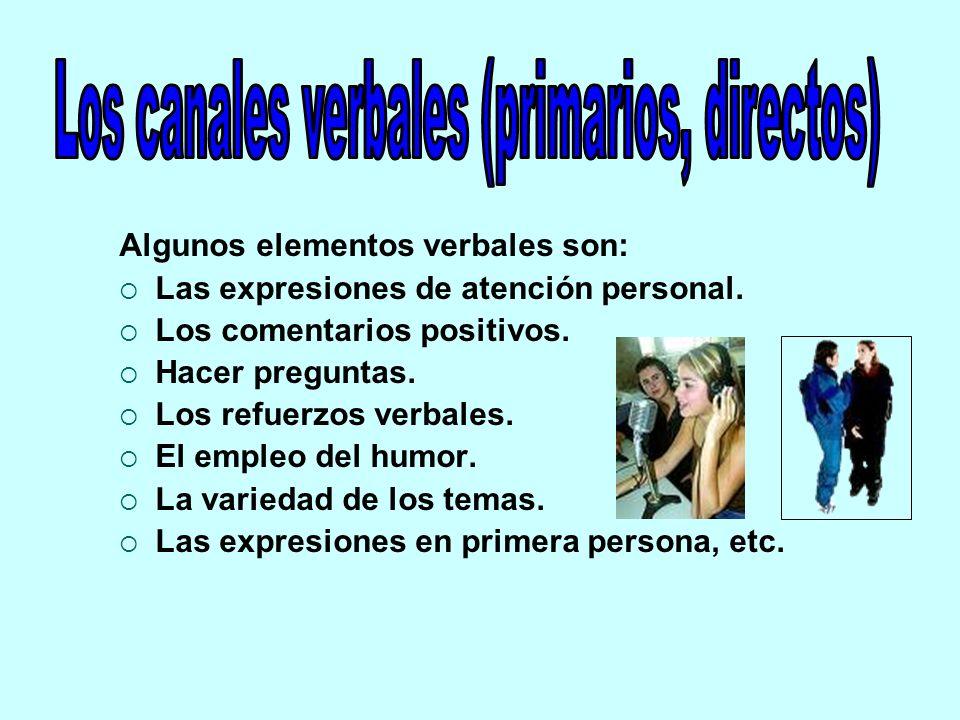 Los canales verbales (primarios, directos)