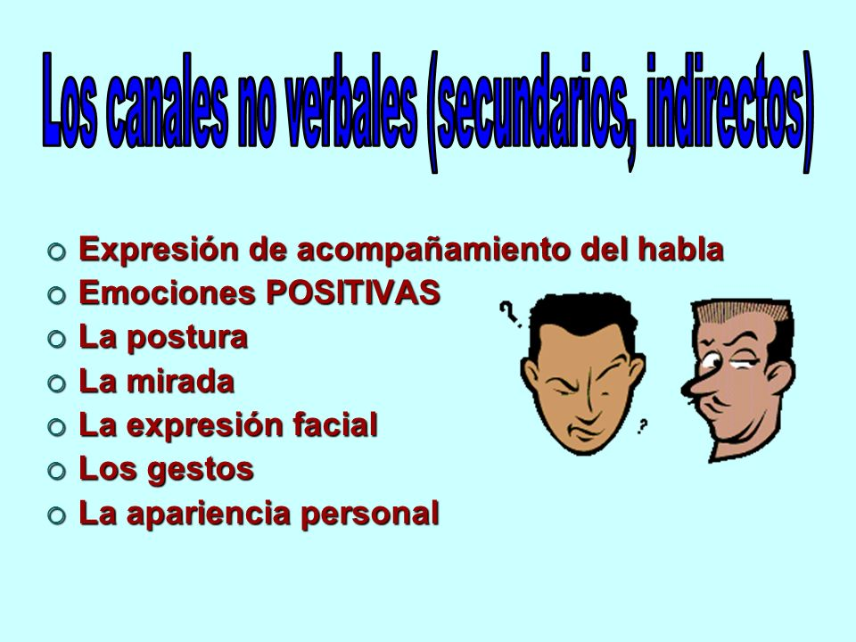 Los canales no verbales (secundarios, indirectos)