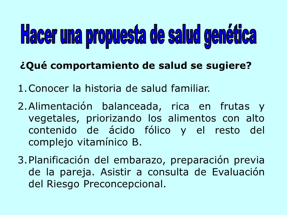 Hacer una propuesta de salud genética
