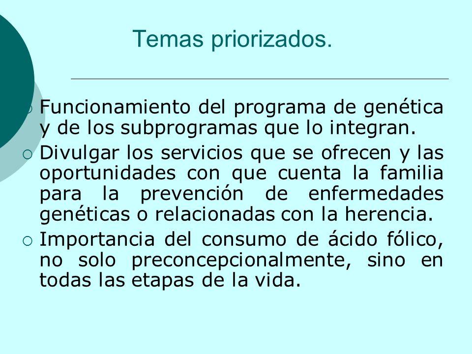 Temas priorizados. Funcionamiento del programa de genética y de los subprogramas que lo integran.