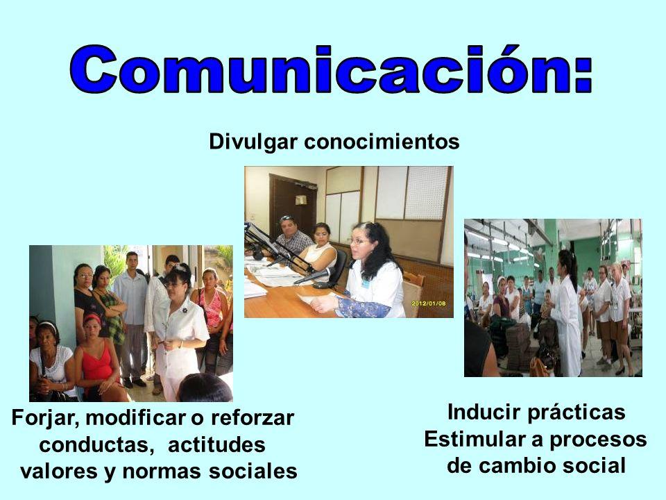 Comunicación: Divulgar conocimientos Inducir prácticas