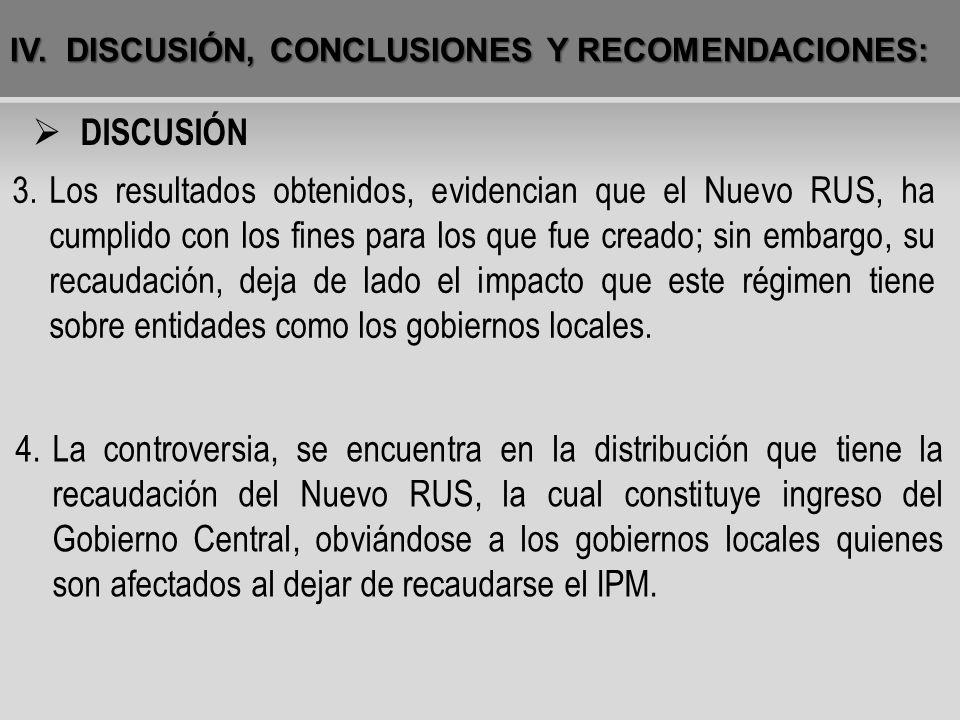 IV. DISCUSIÓN, CONCLUSIONES Y RECOMENDACIONES: