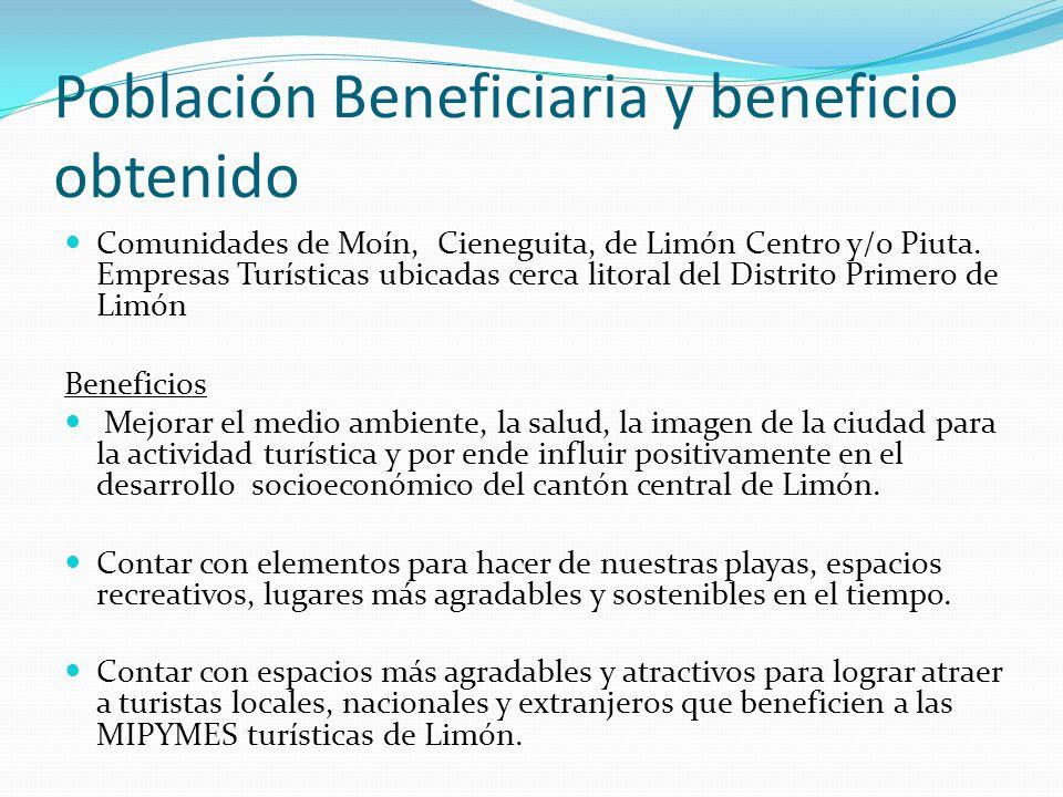 Población Beneficiaria y beneficio obtenido