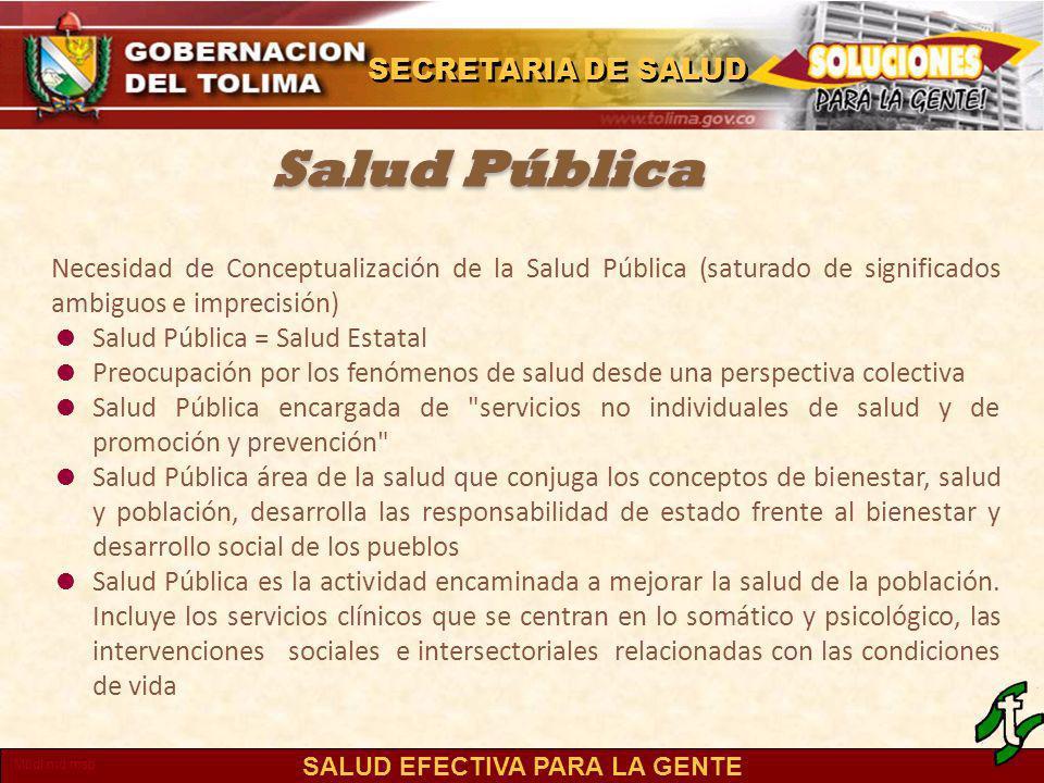 Salud Pública Necesidad de Conceptualización de la Salud Pública (saturado de significados ambiguos e imprecisión)