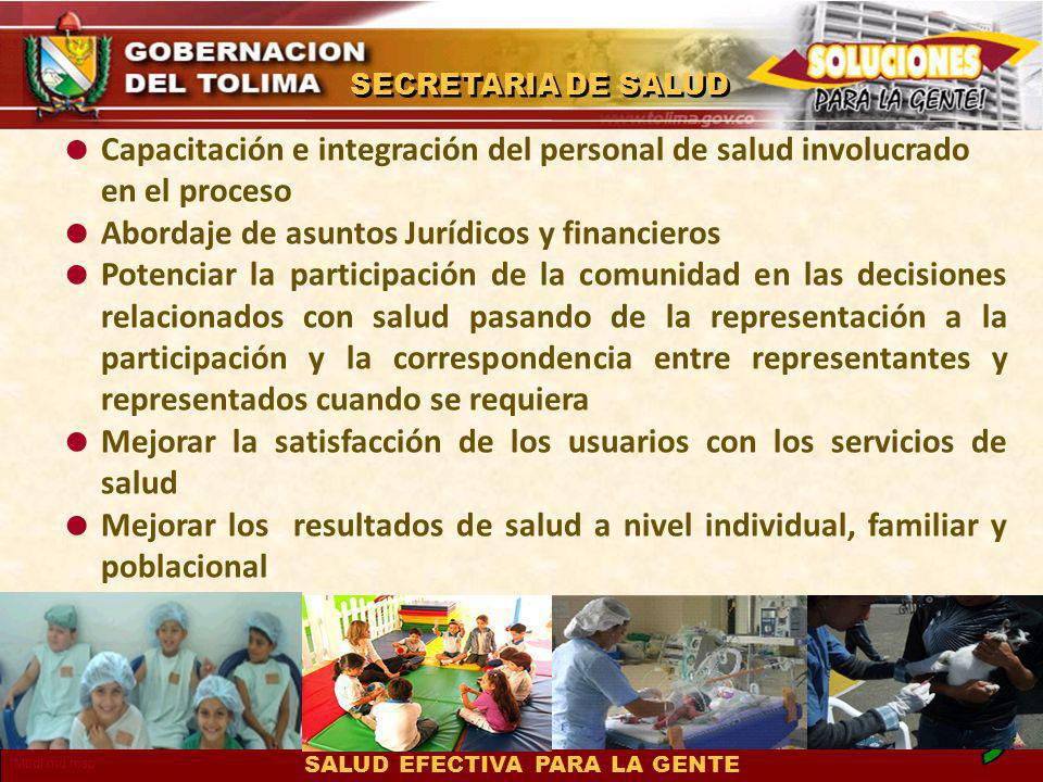 Capacitación e integración del personal de salud involucrado en el proceso