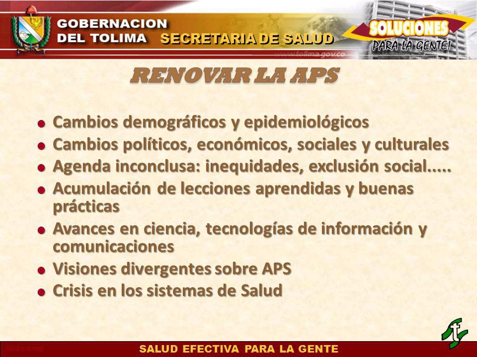 renovar la APS Cambios demográficos y epidemiológicos