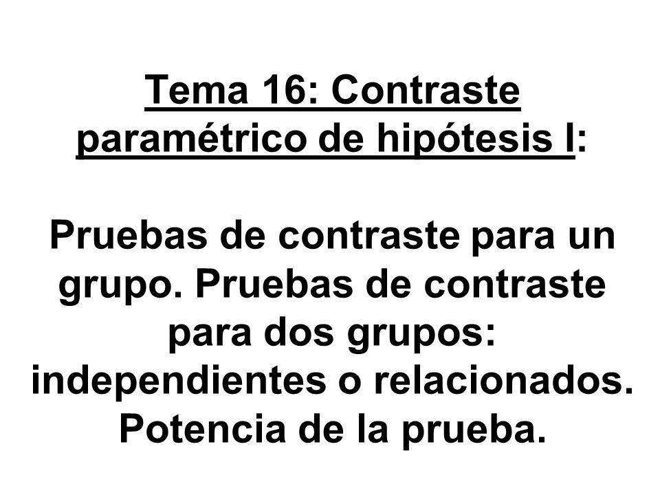 Tema 16: Contraste paramétrico de hipótesis I: Pruebas de contraste para un grupo.
