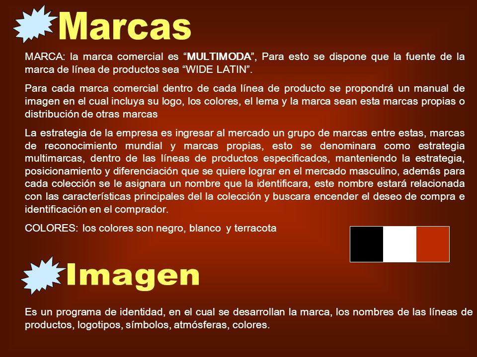 Marcas MARCA: la marca comercial es MULTIMODA , Para esto se dispone que la fuente de la marca de línea de productos sea WIDE LATIN .